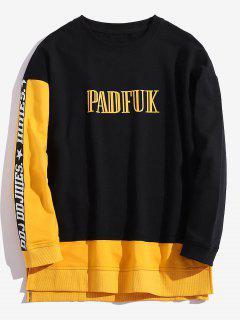 Contrast Hem Patchwork Graphic Sweatshirt - Black 2xl