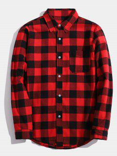 Chest Pocket Back Letter Plaid Shirt - Red Xs