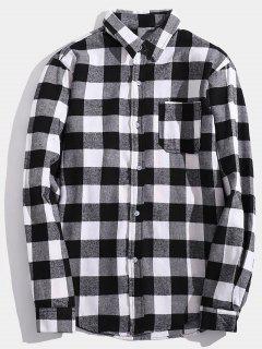 Chest Pocket Back Letter Plaid Shirt - Gray M
