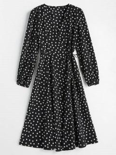 Wrap Polka Dot Dress - Black S