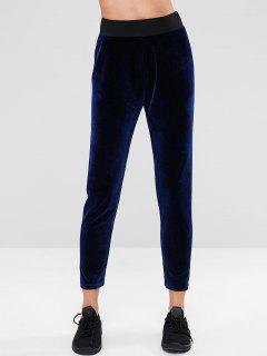 ZAFUL Pantalon De Survêtement à Taille Haute En Velours - Bleu De Minuit M