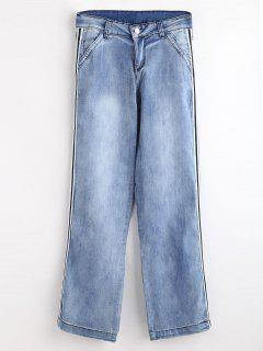 Stripe Trim Straight Jeans - Denim Blue L