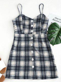 Button Up Cami Straps Kariertes Kleid - Multi L
