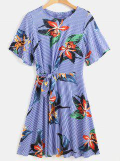 Striped Knot Flower Print Dress - Multi S
