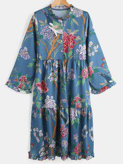 Ruff Collar Flower Print Long Sleeve Dress - Multi L