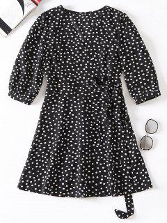 Polka Dot Wrap Tie Up Dress - Black L