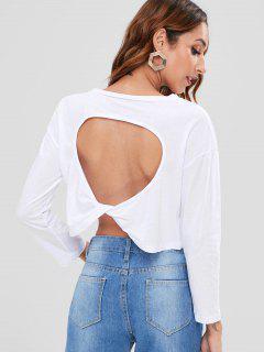 Camiseta Recortada Con Cuello Redondo De Manga Larga - Blanco