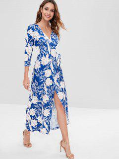 Floral Long Wrap Dress - Blue S