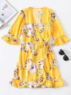 Floral Print Ruffled Wrap Tie Tea Dress - Yellow L