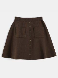 High Rise Knitted A Line Skirt - Coffee