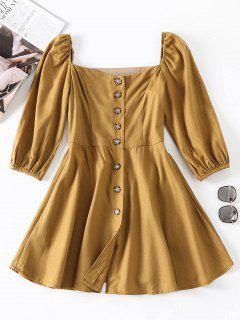 Button Front A Line Dress - Fall Leaf Brown M