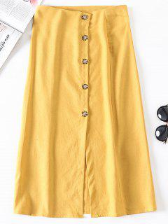 Slit Button Up A Line Skirt - Bright Yellow L