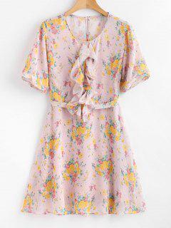 Tie Ruffles Floral Dress - Multi M