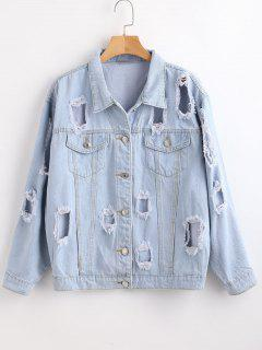 Button Up Ripped Jean Jacket - Jeans Blue M