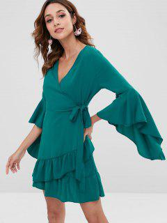 Flare Sleeves Knotted Mini Dress - Greenish Blue L