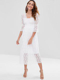 Lace Surplice Dress With Cami Top - White M