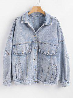 Drop Shoulder Ripped Jean Jacket - Denim Blue