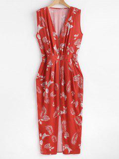 Front Zip Pleated Leaf Midi Dress - Bean Red L