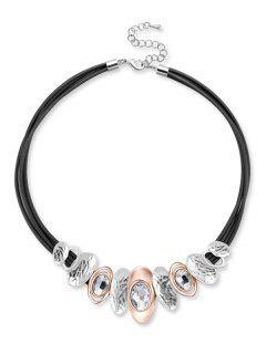 Collar De Diamantes De Imitación En Forma Geométrica - Negro