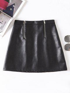 Double Zip PU Leather Mini Skirt - Black M