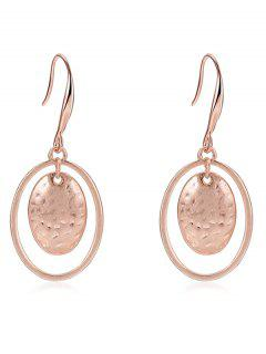 Circle Round Drop Earrings - Rose Gold