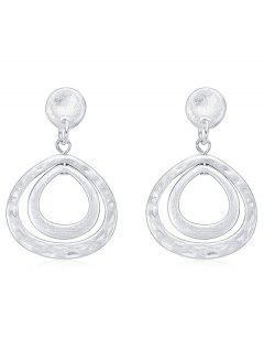 Layer Hollow Teardrop Shape Pendientes De Metal - Plata
