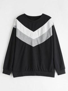 Zig Zag Drop Shoulder Sweatshirt - Black L