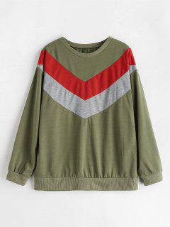 Zig Zag Drop Shoulder Sweatshirt - Fern Green Xl