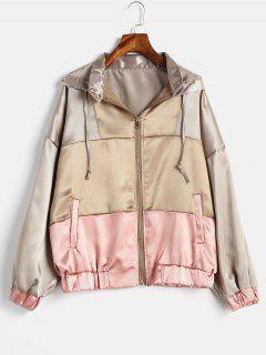 Drop Shoulder Metallic Zipper Hooded Jacket - Multi S