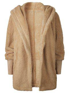 Oversize Open Front Furry Coat - Light Brown L