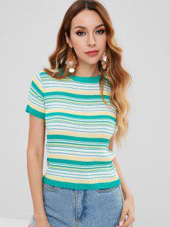 Striped Ribbed Knit Top - Multi