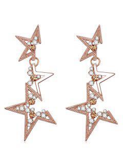 Pendientes Colgantes Con Diseño De Estrellas De Diamantes De Imitación - Rosa De Oro