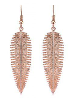 Feather Design Alloy Hook Earrings - Rose Gold