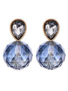 Teardrop Shape Artificial Crystal Drop Earrings - Royal Blue