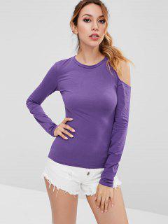T-shirt Epaule Dénudée Découpée à Manches Longues - Violet Buisson 2xl