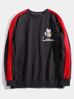 Kitten Letter Print Striped Sweatshirt - Red S