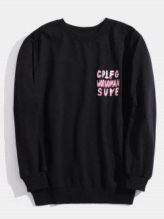 Streetwear Letter Print Sweatshirt - Black M