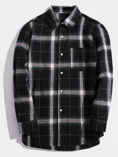 Casual Chest Pocket Check Shirt - Black M