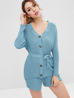 Ribbed Cardigan And Sweater Shorts Co Ord Set - Blue Jay