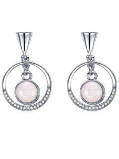 Pendientes Círculo Redondo De Diamantes De Imitación - Plata