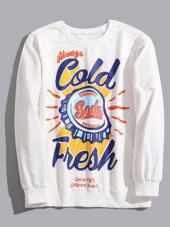 Casual Bottle Cap Graphic Sweatshirt - White M