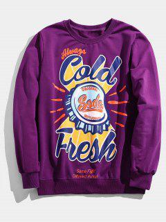 Casual Bottle Cap Graphic Sweatshirt - Purple L