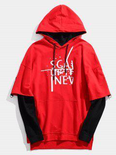 Streetwear Gefälschte Zwei Stück Brief Hoodie - Rot Xl