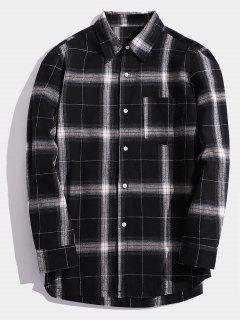 Casual Chest Pocket Check Shirt - Black L