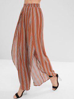 Striped Asymmetrical Wide Leg Pants - Light Brown M