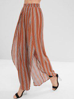 Striped Asymmetrical Wide Leg Pants - Light Brown L