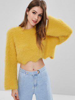 ZAFUL Flare Sleeve Mohair Crop Sweater - Bright Yellow