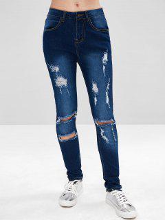 Dark Wash Distressed Jeans - Denim Dark Blue M