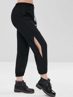 Tassels Cut Out Ninth Pants - Black L