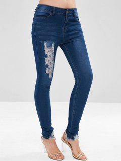 Skinny Destroyed Jeans - Denim Blue M